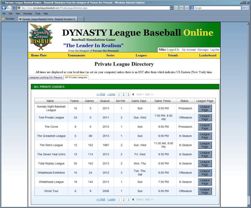 Private League Directory